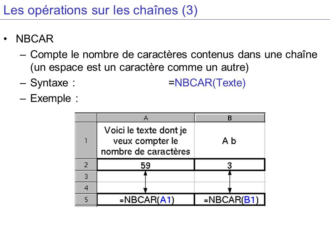 Les opérations sur les chaînes (3)