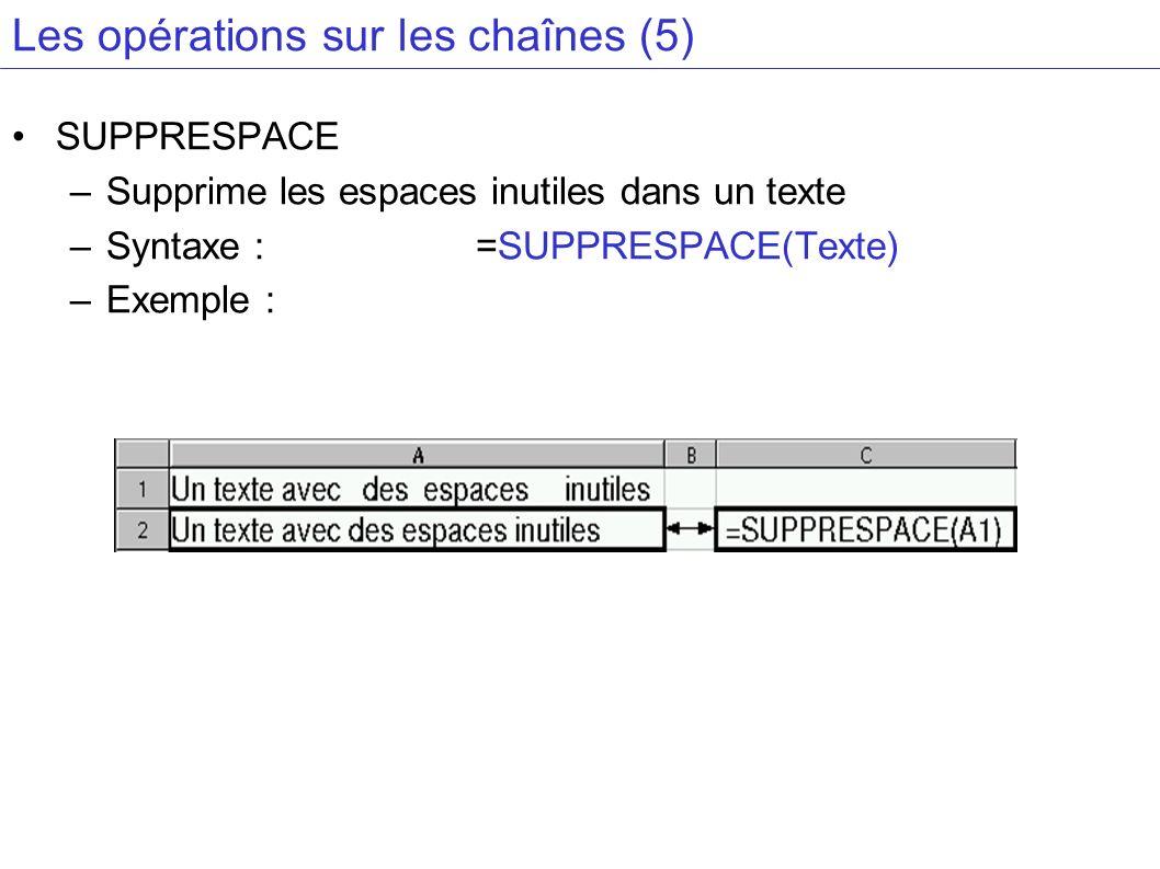 Les opérations sur les chaînes (5)