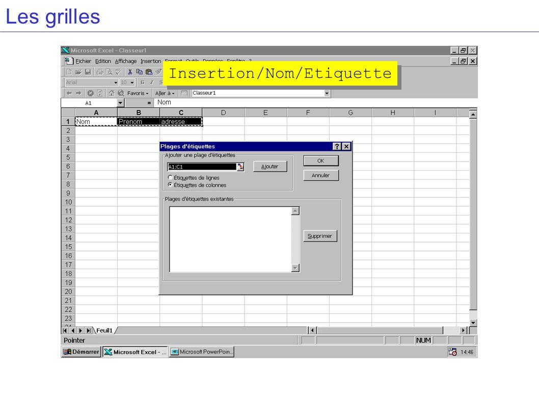 Les grilles Insertion/Nom/Etiquette