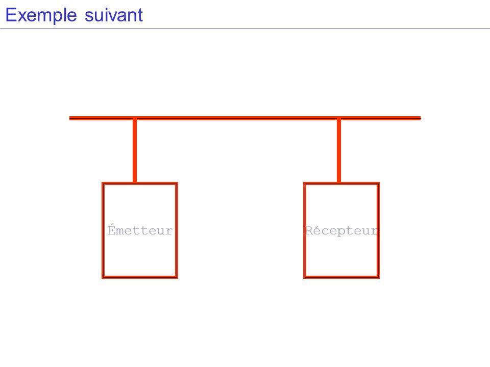 Exemple suivant Émetteur Émetteur Récepteur Récepteur