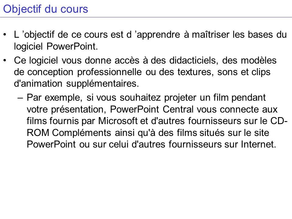 Objectif du cours L 'objectif de ce cours est d 'apprendre à maîtriser les bases du logiciel PowerPoint.