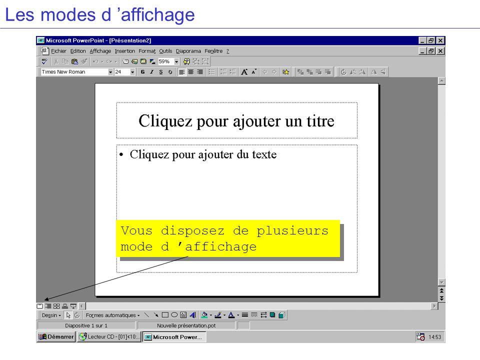 Les modes d 'affichage Vous disposez de plusieurs mode d 'affichage