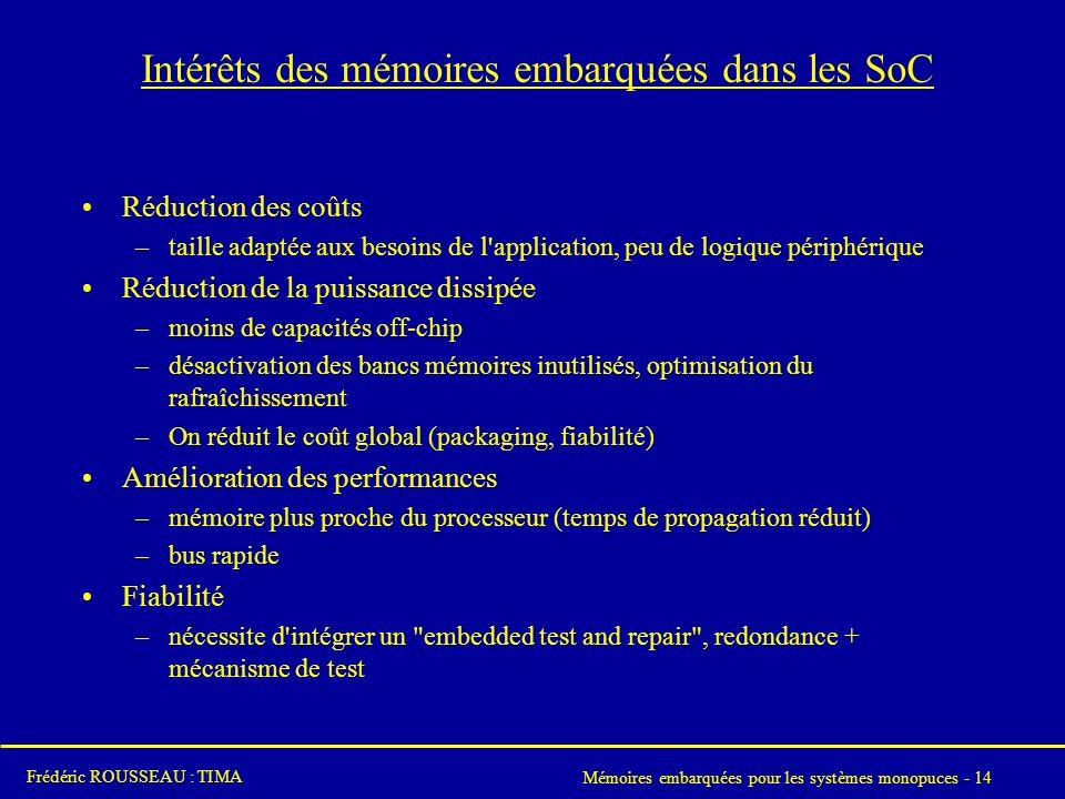 Intérêts des mémoires embarquées dans les SoC