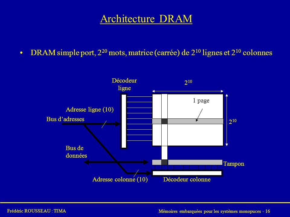 Architecture DRAM DRAM simple port, 220 mots, matrice (carrée) de 210 lignes et 210 colonnes. Bus d'adresses.