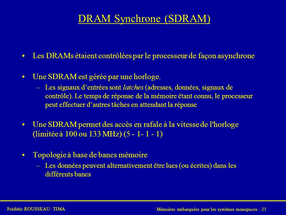 DRAM Synchrone (SDRAM)