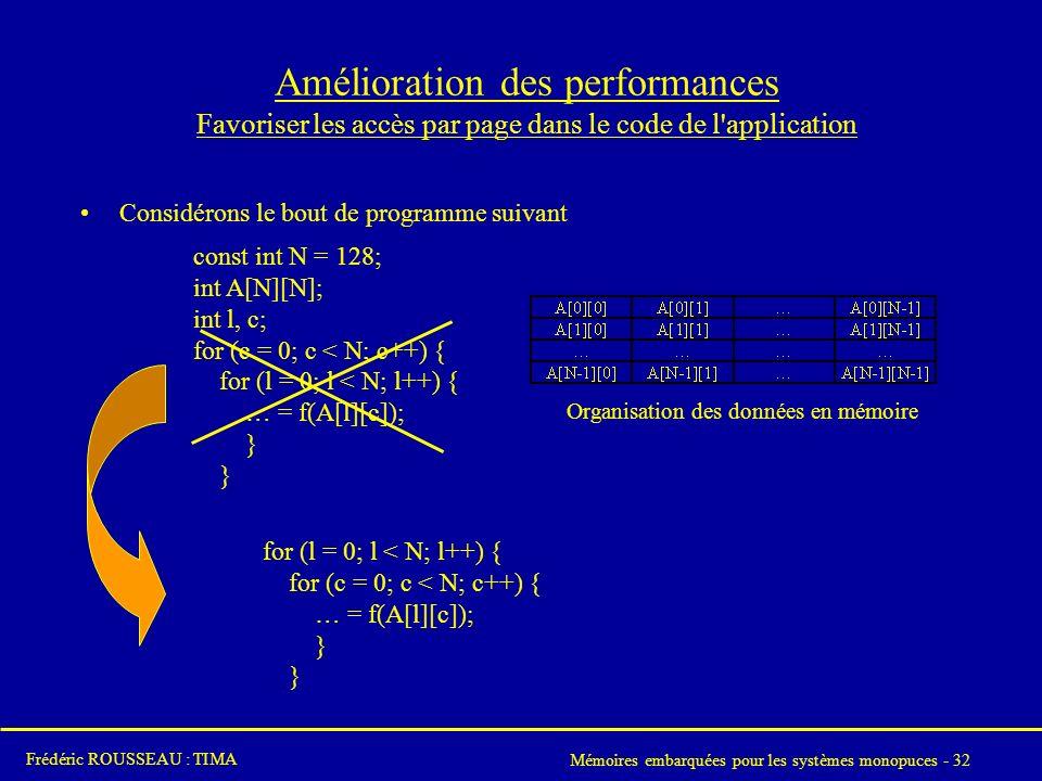 Amélioration des performances Favoriser les accès par page dans le code de l application