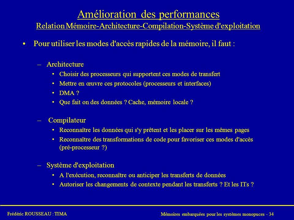Amélioration des performances Relation Mémoire-Architecture-Compilation-Système d exploitation