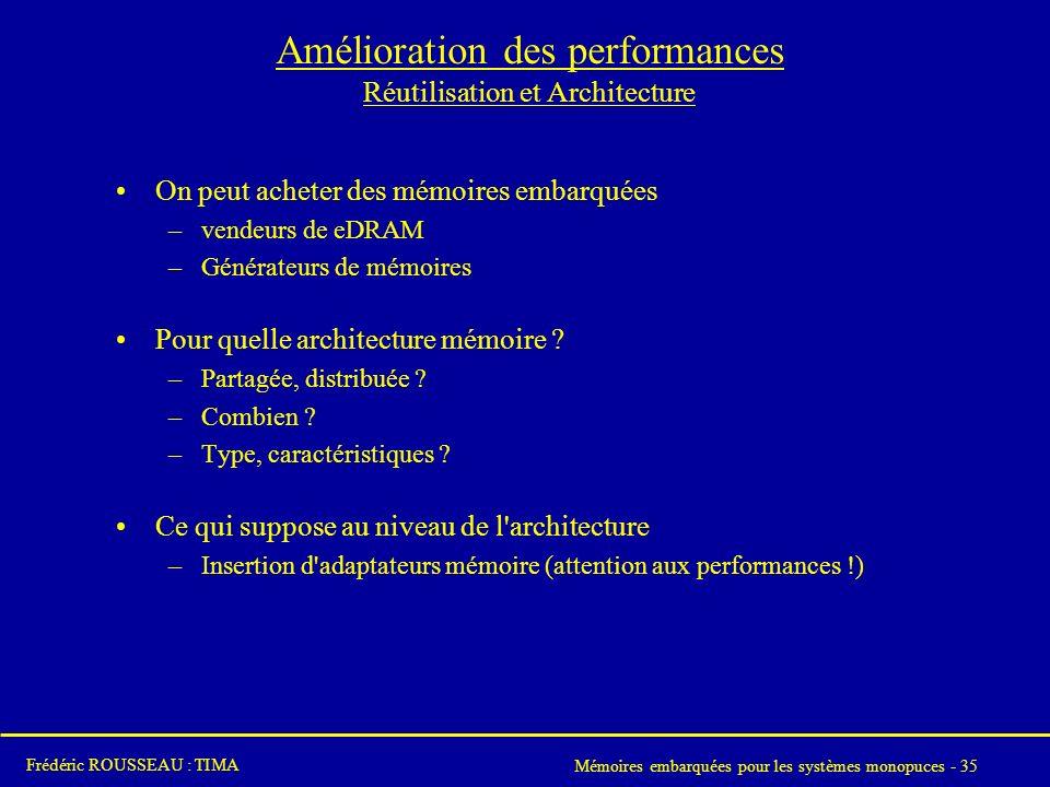 Amélioration des performances Réutilisation et Architecture