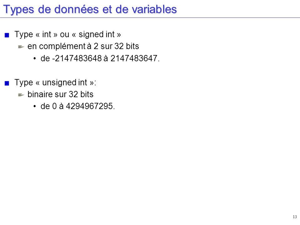 Types de données et de variables