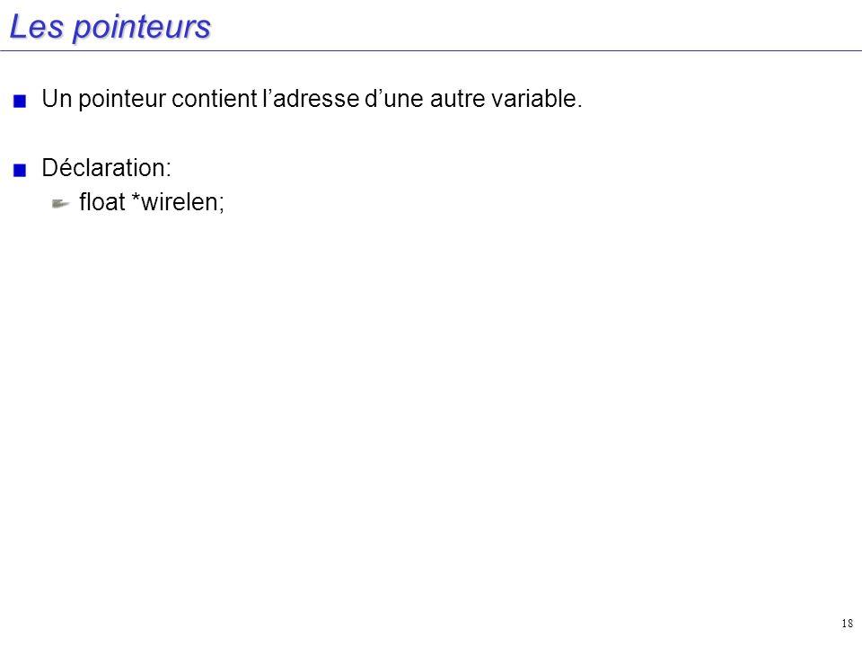 Les pointeurs Un pointeur contient l'adresse d'une autre variable.