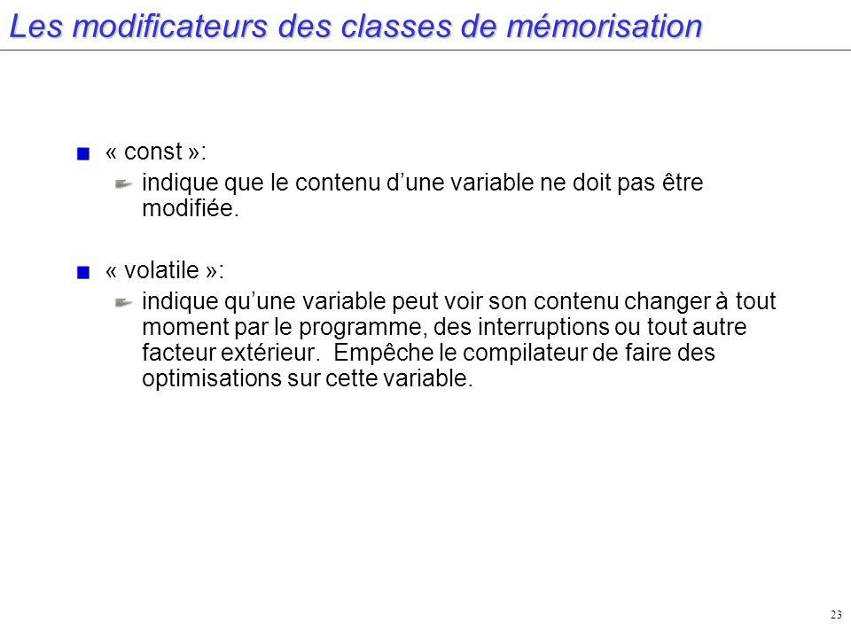 Les modificateurs des classes de mémorisation