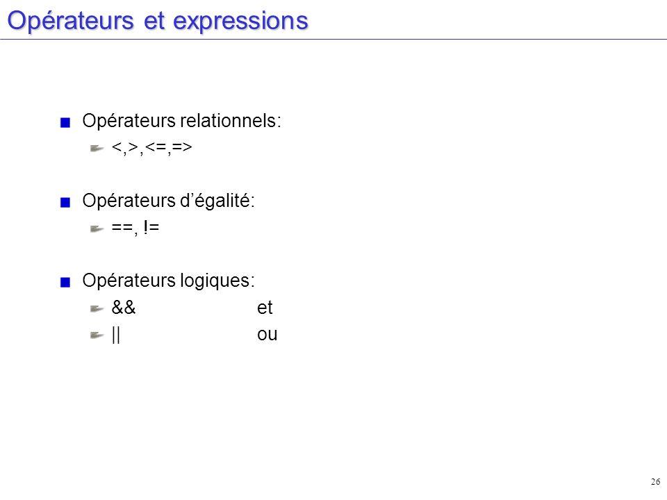 Opérateurs et expressions