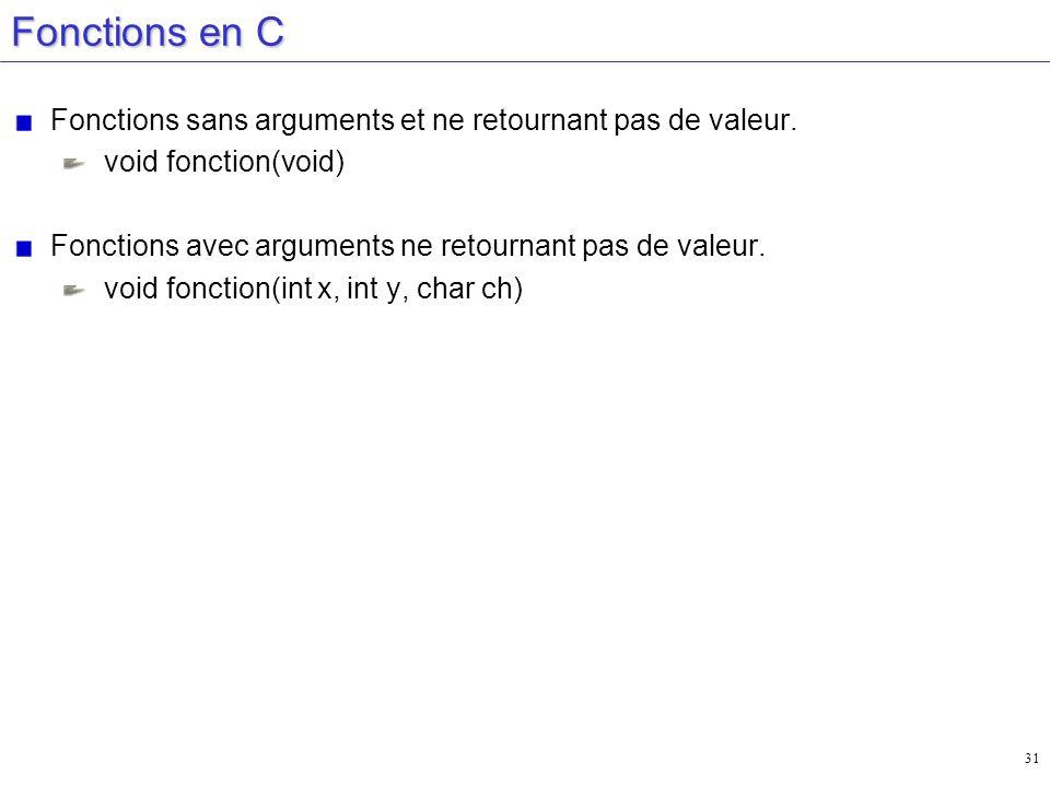 Fonctions en C Fonctions sans arguments et ne retournant pas de valeur. void fonction(void) Fonctions avec arguments ne retournant pas de valeur.