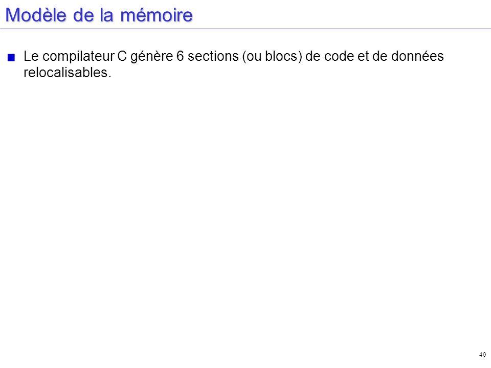 Modèle de la mémoire Le compilateur C génère 6 sections (ou blocs) de code et de données relocalisables.