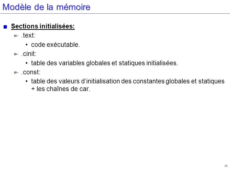 Modèle de la mémoire Sections initialisées: .text: code exécutable.