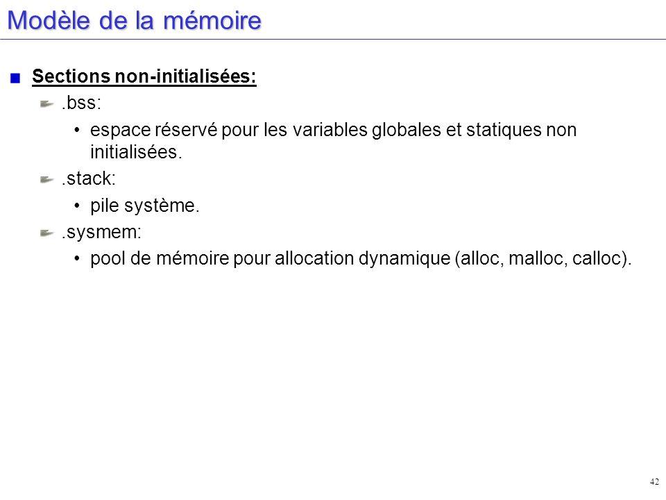 Modèle de la mémoire Sections non-initialisées: .bss: