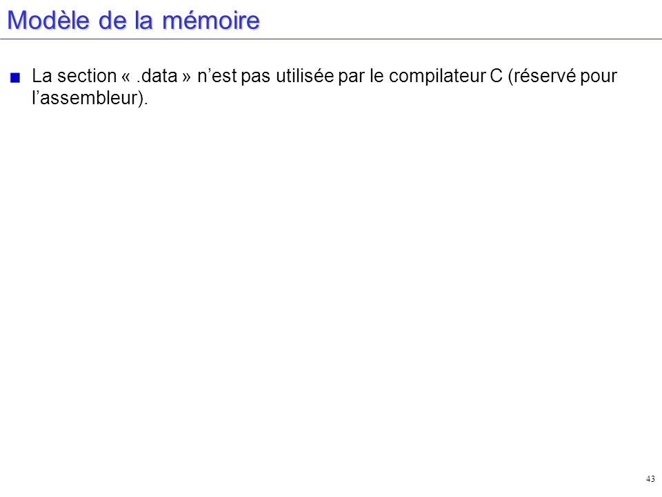 Modèle de la mémoire La section « .data » n'est pas utilisée par le compilateur C (réservé pour l'assembleur).