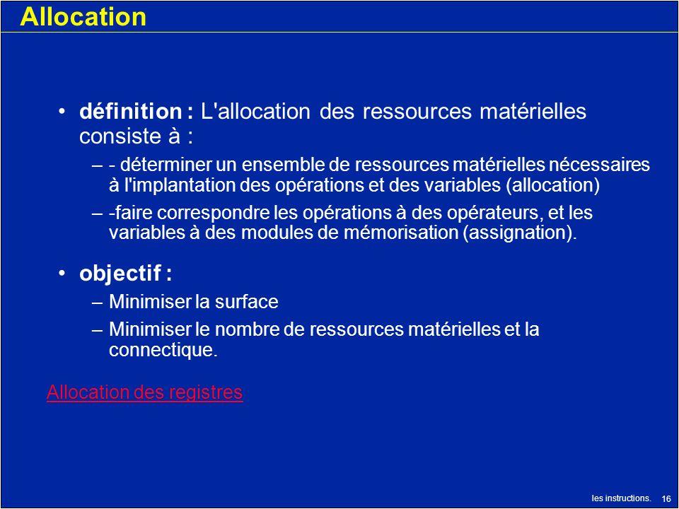 Allocation définition : L allocation des ressources matérielles consiste à :