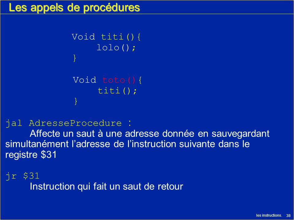 Les appels de procédures