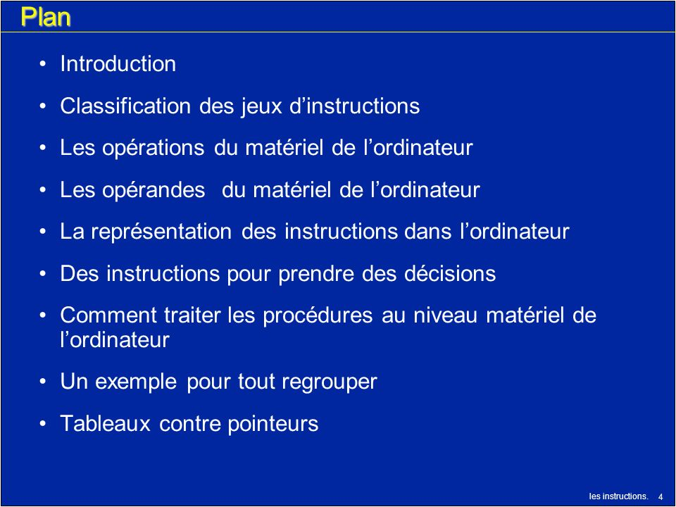 Plan Introduction Classification des jeux d'instructions