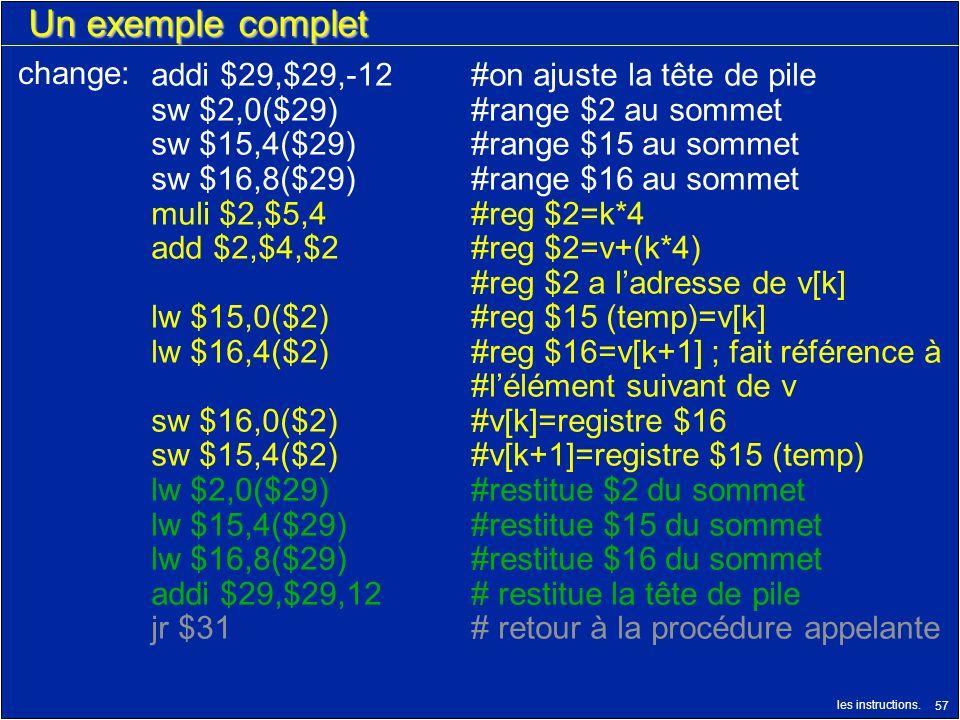 Un exemple complet change: addi $29,$29,-12 #on ajuste la tête de pile