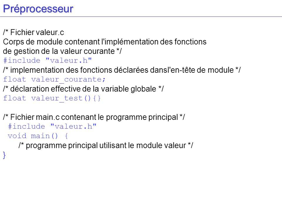 Préprocesseur /* Fichier valeur.c