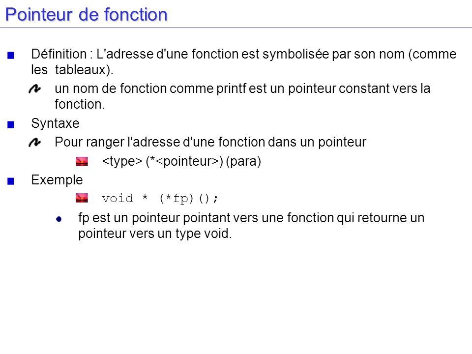 Pointeur de fonction Définition : L adresse d une fonction est symbolisée par son nom (comme les tableaux).