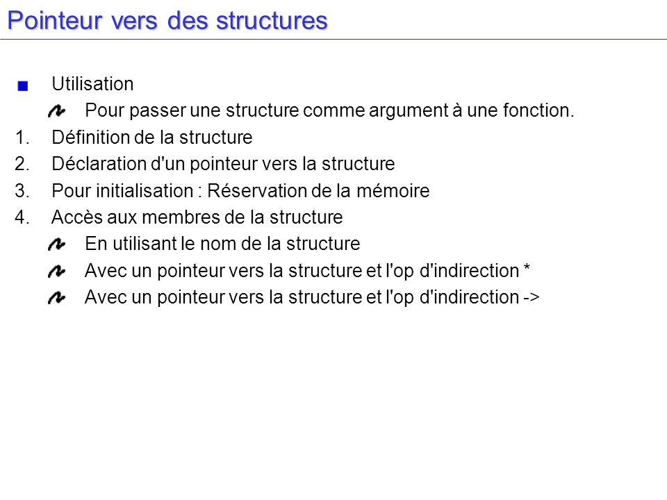 Pointeur vers des structures