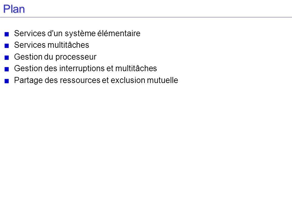 Plan Services d un système élémentaire Services multitâches