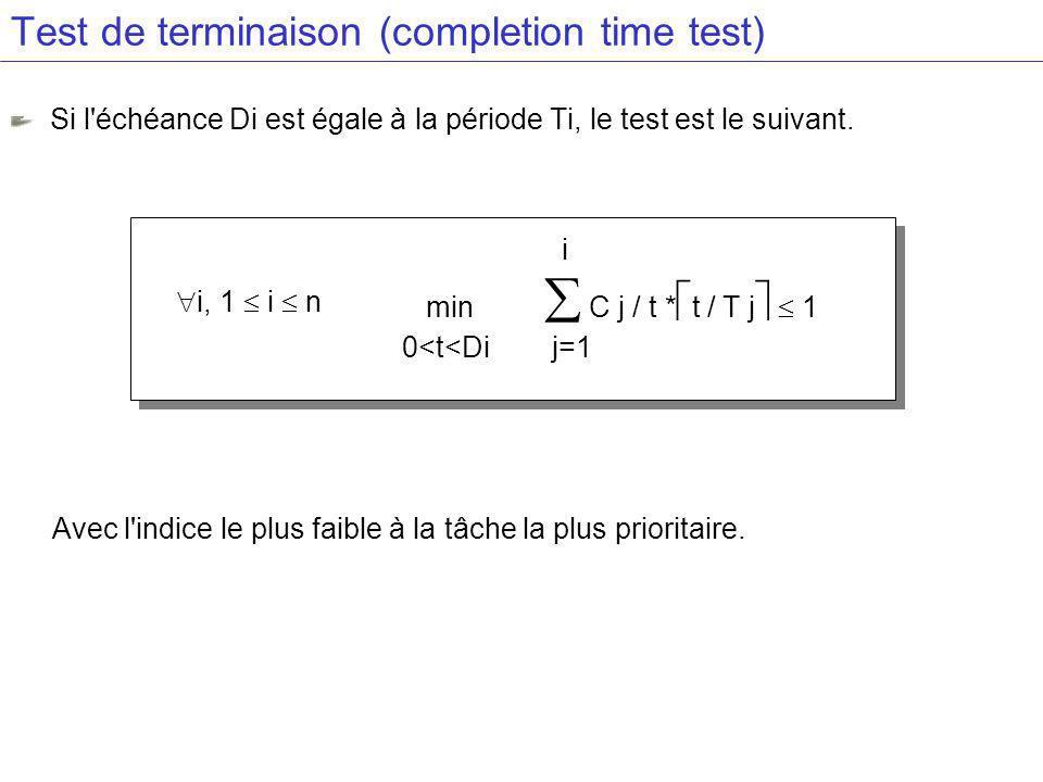 Test de terminaison (completion time test)