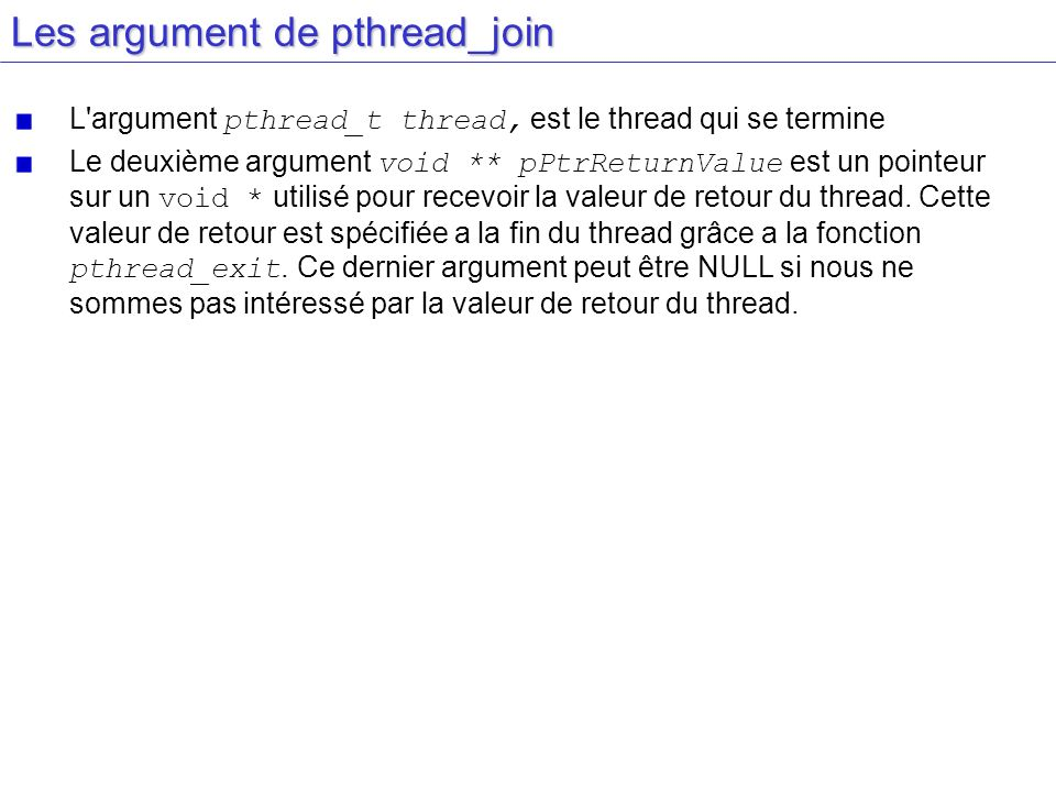 Les argument de pthread_join