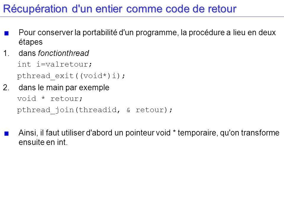 Récupération d un entier comme code de retour