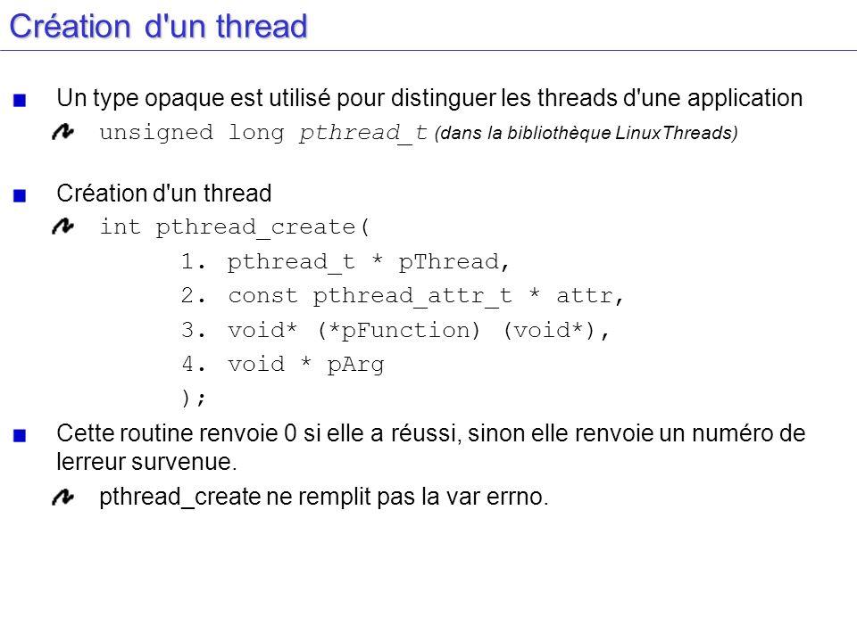 Création d un thread Un type opaque est utilisé pour distinguer les threads d une application.