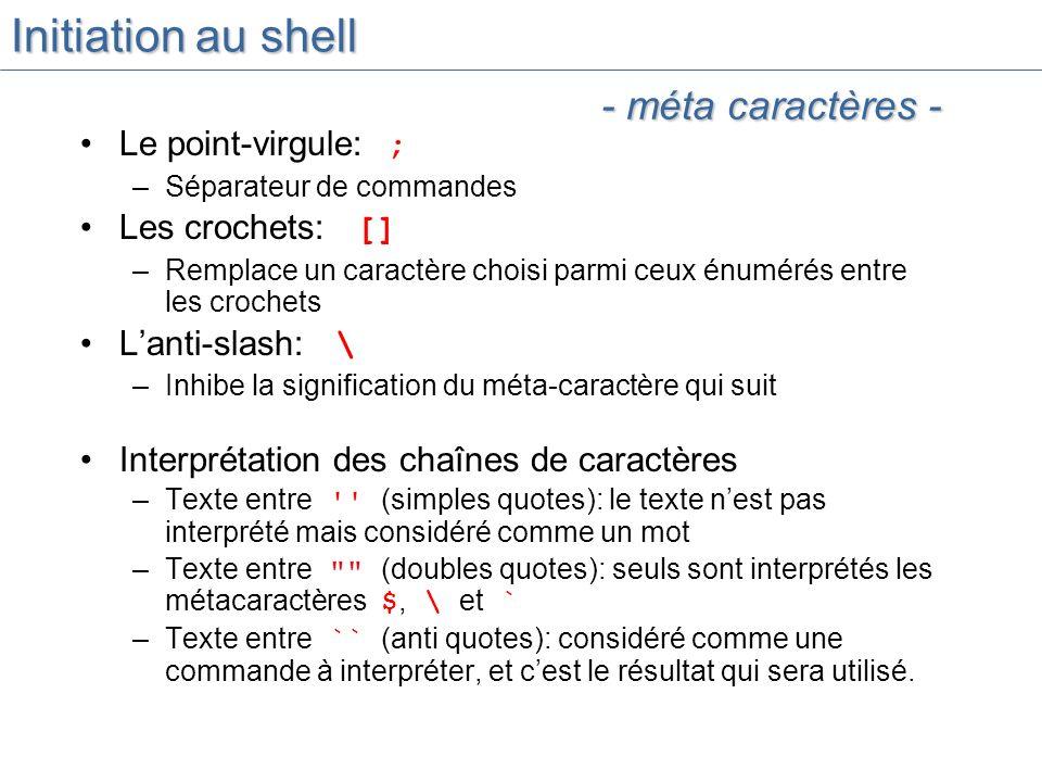 Initiation au shell - méta caractères - Le point-virgule: ;