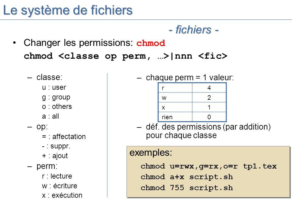 Le système de fichiers - fichiers - Changer les permissions: chmod