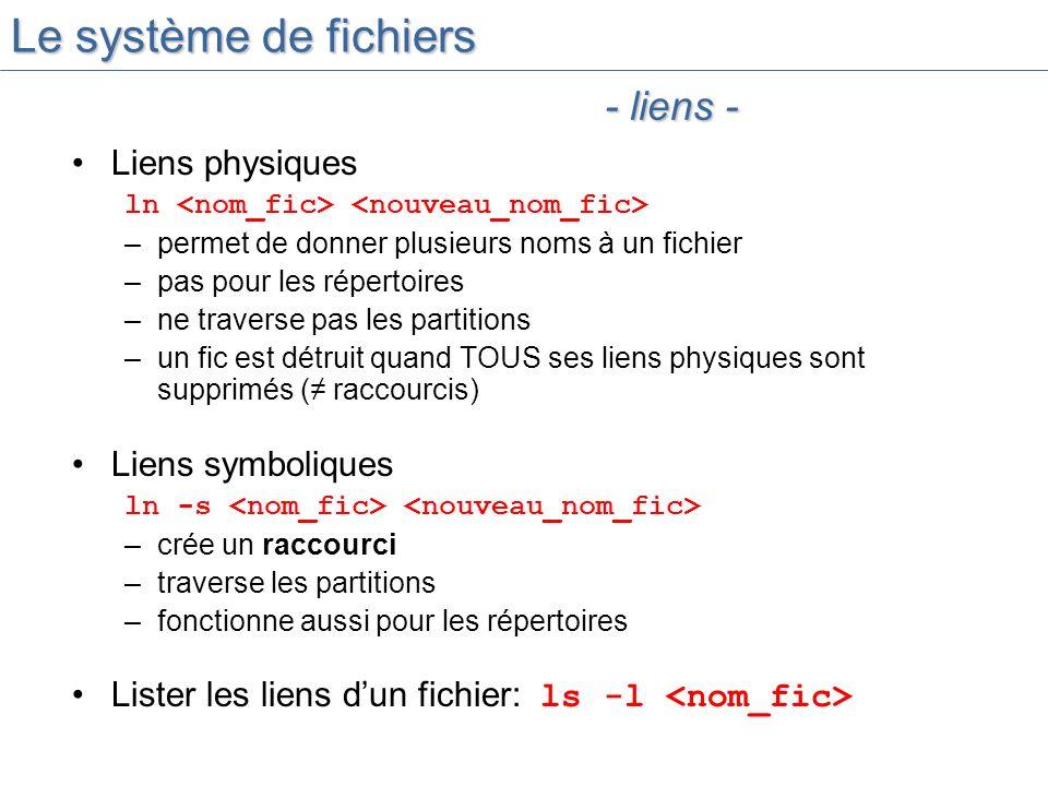 Le système de fichiers - liens - Liens physiques Liens symboliques