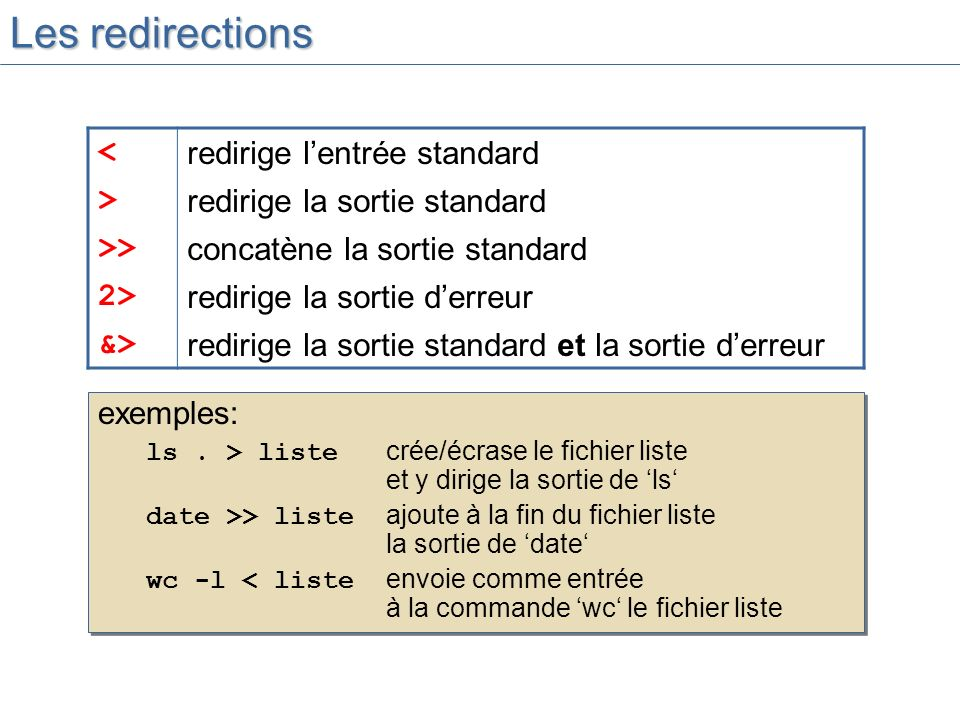 Les redirections < redirige l'entrée standard >