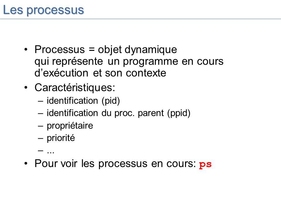 Les processus Processus = objet dynamique qui représente un programme en cours d'exécution et son contexte.