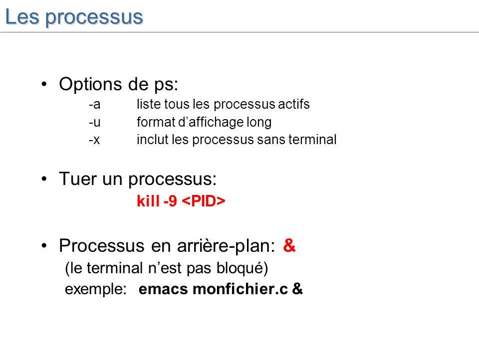 Les processus Options de ps: Tuer un processus: