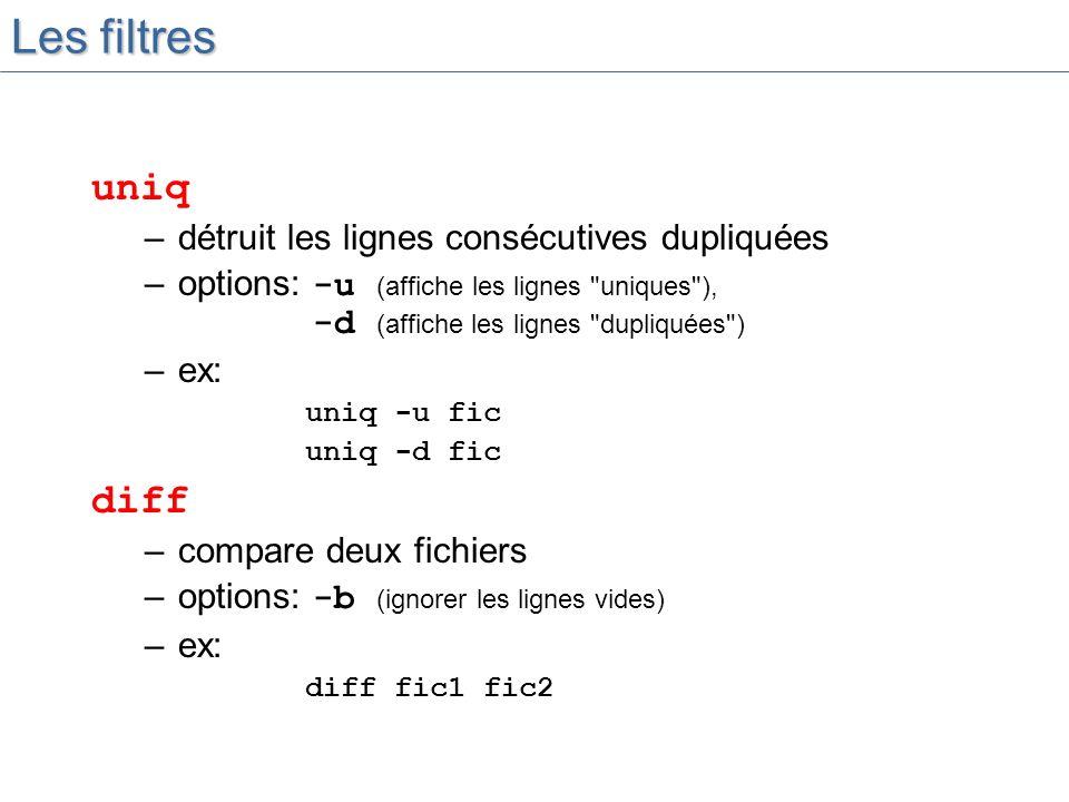 Les filtres uniq diff détruit les lignes consécutives dupliquées