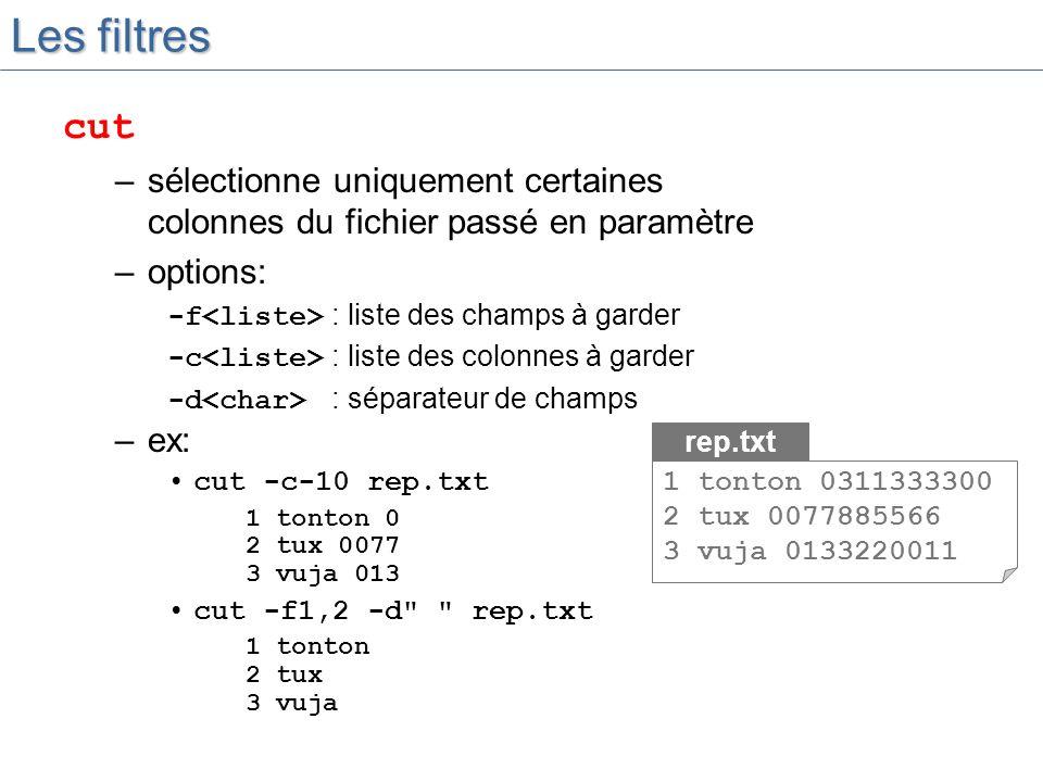 Les filtres cut. sélectionne uniquement certaines colonnes du fichier passé en paramètre. options: