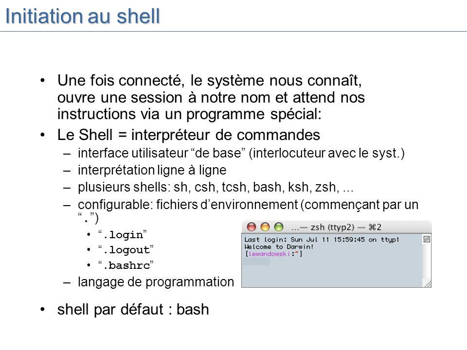 Initiation au shell Une fois connecté, le système nous connaît, ouvre une session à notre nom et attend nos instructions via un programme spécial: