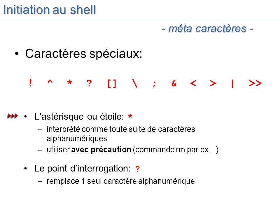 Initiation au shell Caractères spéciaux: - méta caractères -