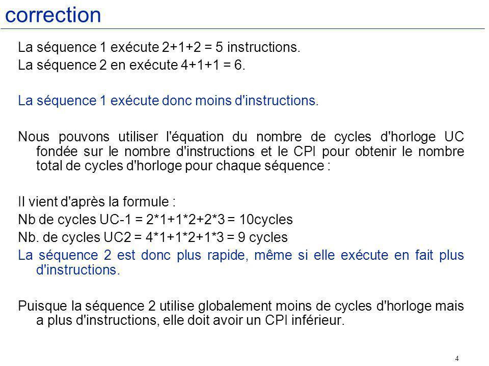 correction La séquence 1 exécute 2+1+2 = 5 instructions.