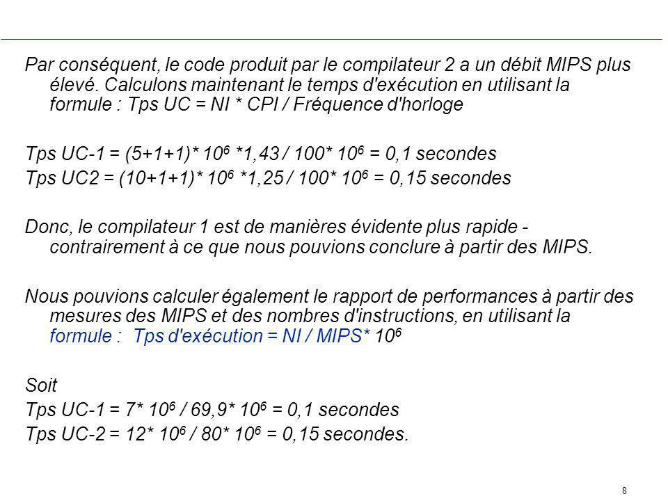 Par conséquent, le code produit par le compilateur 2 a un débit MIPS plus élevé. Calculons maintenant le temps d exécution en utilisant la formule : Tps UC = NI * CPI / Fréquence d horloge