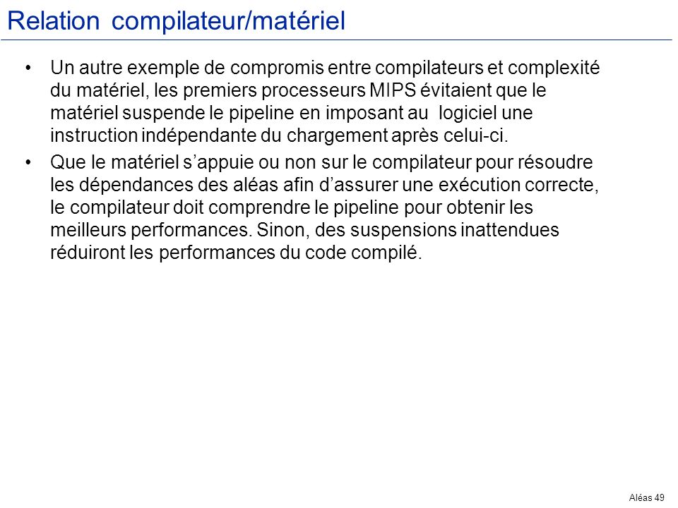 Relation compilateur/matériel