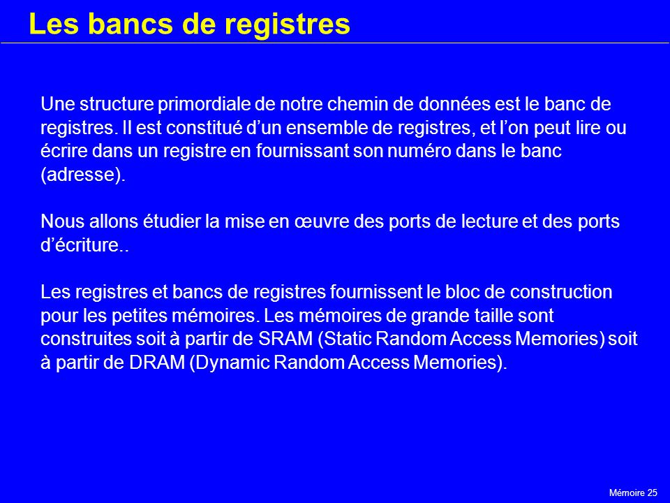 Les bancs de registres