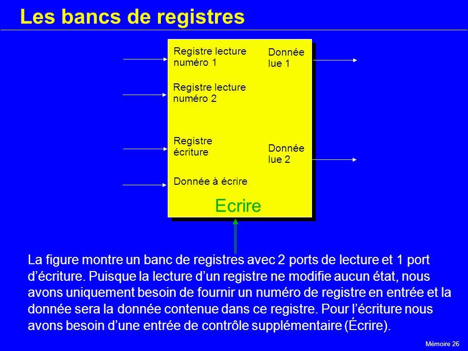 Les bancs de registres Ecrire