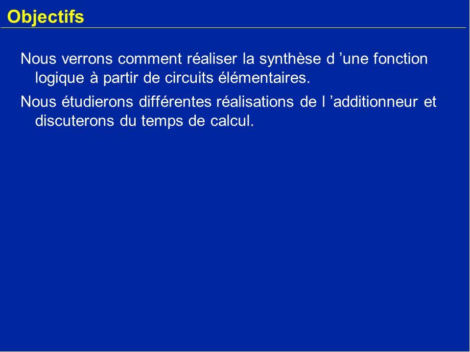 Objectifs Nous verrons comment réaliser la synthèse d 'une fonction logique à partir de circuits élémentaires.