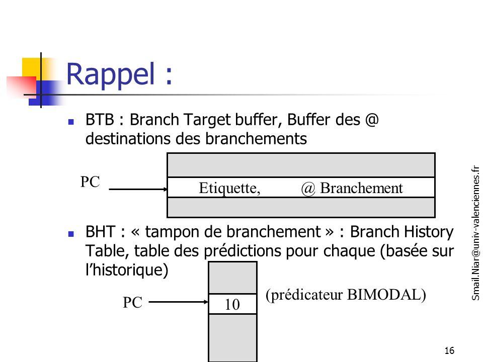 Rappel : BTB : Branch Target buffer, Buffer des @ destinations des branchements.